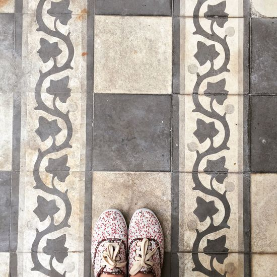 Peranakan Tiles Shoe Pair Day Low Section Human Body Part Outdoors People Close-up Singapore History Peranakan