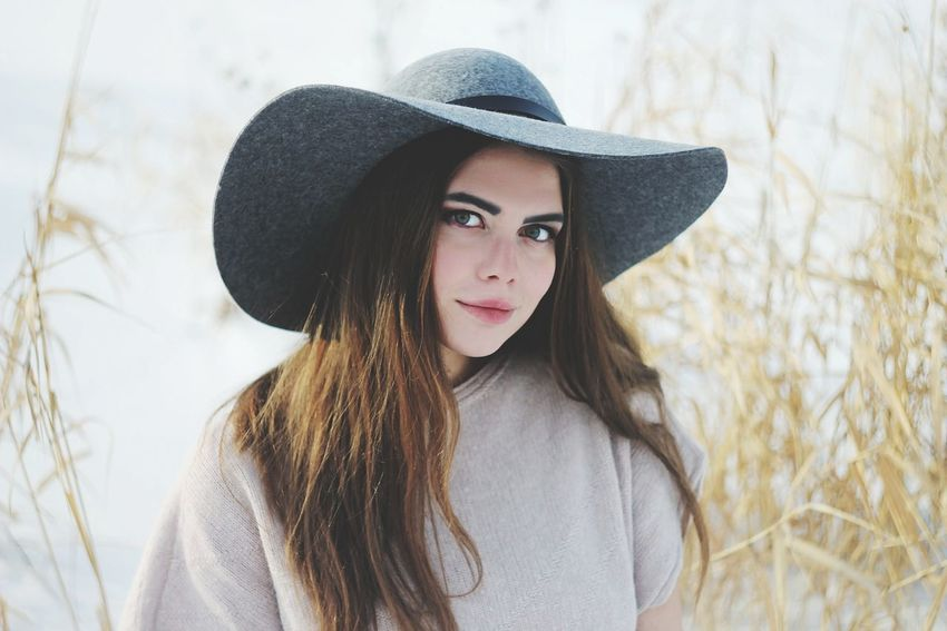 Hat Long Hair Brown Hair One Person Beautiful People Beauty Headshot Confidence  Portrait Human Hair One Woman Only People Women Only Women Outdoors Adult Young Adult Beautiful Woman Human Body Part Young Women Water Winter Krasnoyarsk One Young Woman Only