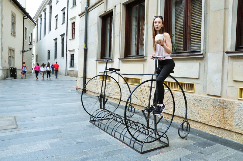 Health Craze ArtWork Bratislava, Slovakia Coconut Beautiful Woman Bicycle Casual Clothing Leisure Activity Outdoors Streetphotography Vintage Young Adult Young Women
