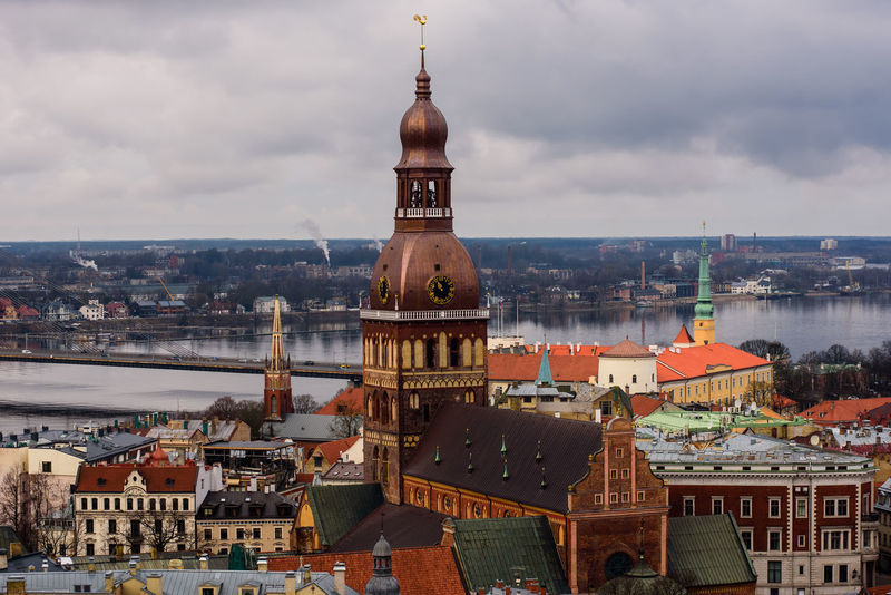 15.02.2016. RIGA, LATVIA. View to Dome cathedral in Riga and view to Riga Old town. Dome Cathedral Dome Cathedrale Latvia Riga Architecture Riga Old City Riga Old Town RigaCity Architecture Building Exterior Built Structure Cityscape Cloud - Sky Dome Dome Church River Tower Travel Latvia Travel Destinations