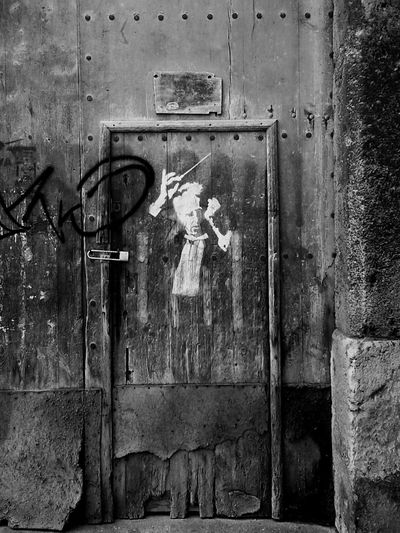 Check This Out Blackandwhite Musician Graffiti Music Old Door B&w Street Photography