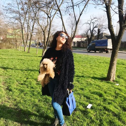 Casual Clothing Tree Front View Grass Day Standing Sunlight Three Quarter Length Field Women Outdoors Warm Clothing