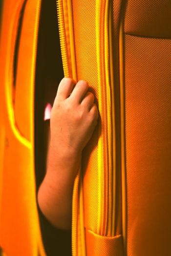 Close-up of man holding orange