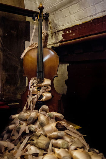 Abandoned Ballet Shoes And Double Bass At Home