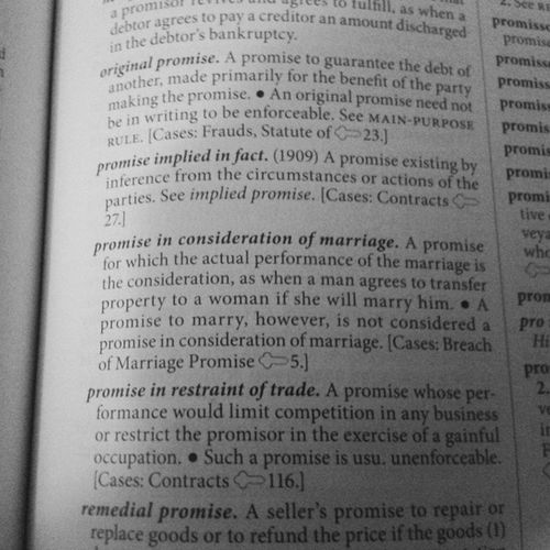 Off which in common law the statute with regards to Promise & Consideration to marry (read) HEARTBALM STATUTE how convenient..smh