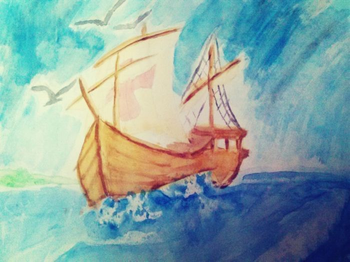 Water Color. Boat Painting