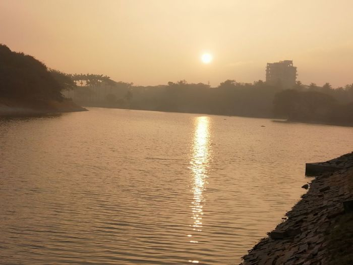 morning sunrise @LALBHAGH LAKE, BANGALORE... NIKON D5300 Nikon Photography Photography Honor8X Day Lalbagh, Bangalore-India Water Tree Mountain Lake Beauty Dawn Sun Foggy Reflection Lake Boat