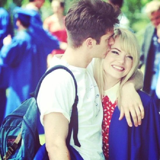 Cutest couple Lovethemsomuch Wishtobelikethem Emmastone AndrewGarfield PeterParker GwenStacy Cute Lolz ☺?????????
