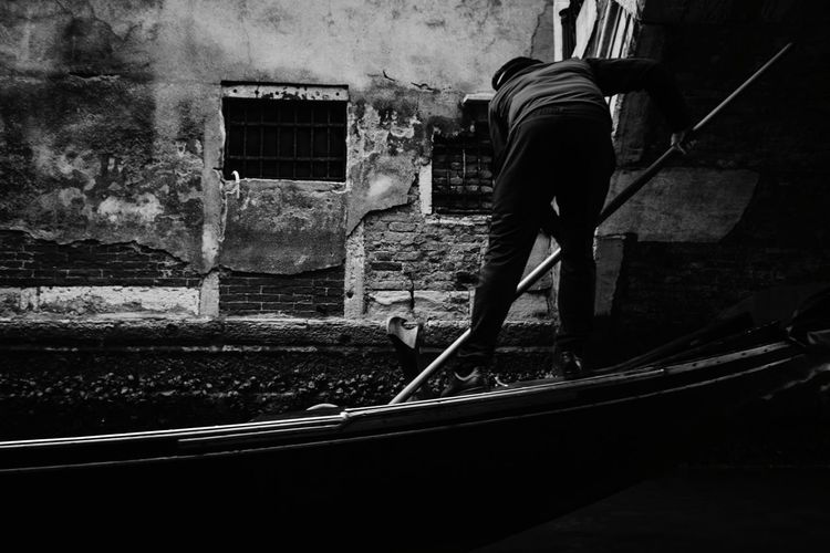Gondolier Holiday Travel EyeEm Best Shots Composition Black And White Street Photography Black And White Composition EyeEm Selects Blackandwhitephoto Black And White Venice Canal Gondolier Italy Men Full Length Occupation Industry Working Architecture