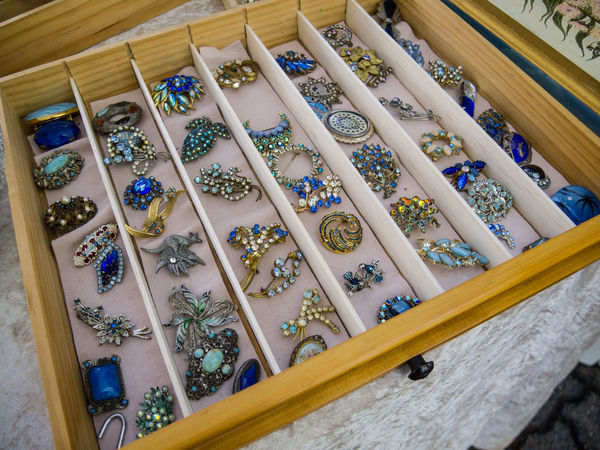 Blue Brooch Brooches Close-up Day Drawer Glass High Angle View Indoors  Jewellery Jewelry Jewels Many Market Metal Multiple No People Precious Retro Semi-precious Vintage Wood - Material