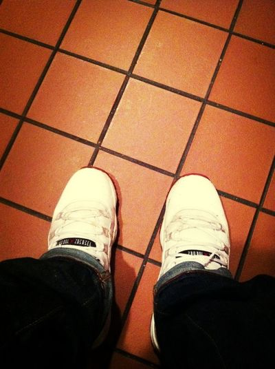 #jordans #varsityRed #white #11's Hiding In The Bathroom At Work Lol
