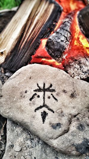 No People Close-up Outdoors Wales Day Fire Woods CharcoalTranquil Scene Forest Rock Doodle Peaceful Peace And Quiet Campfire Face Camping Abstract Hot