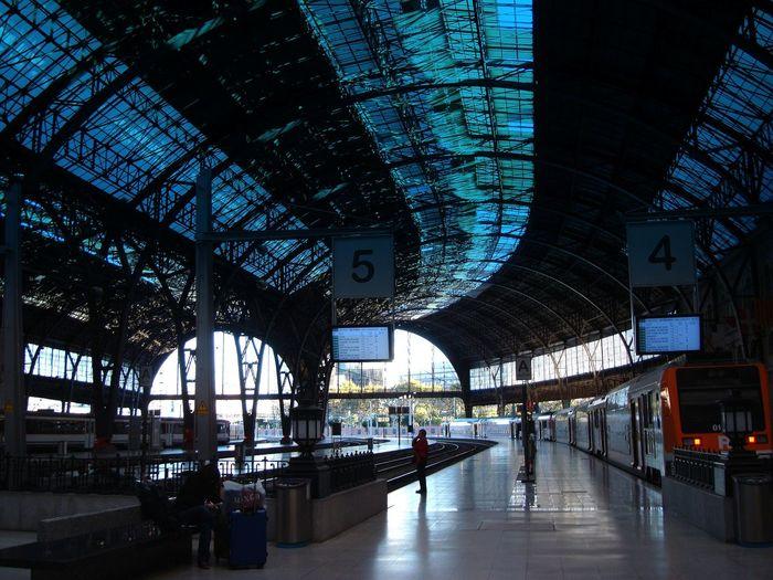 High speed train at railroad station platform