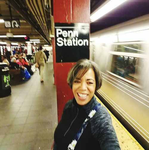 Selfie From New York City Taking The Train At Penn Station A Smile From Underground A Trip To The City. Traveling Matters.
