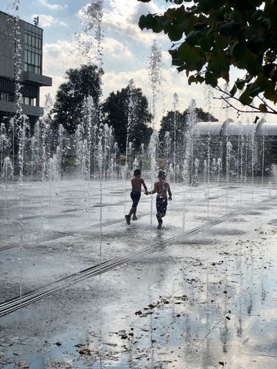 City Life Happiness Joyful Moscow Muzeon Summer Exploratorium Summertime Boys Child Childhood City Fountain Friendship Joy Males  Moscow Life Motion Muzeonpark Outdoors Real People Spraying Summer Two People Water My Best Photo