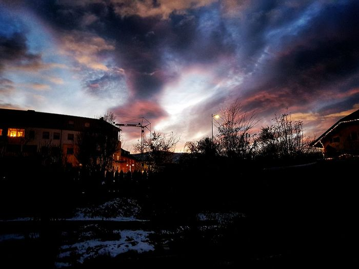 Sky Illuminated Dramatic Sky No People Night Nature Beauty In Nature Outdoors Architecture Sunset Broonyco Bruneck Alto Adige South Tyrol High Contrast Italy Alps Mountain Scenics Tranquil Scene Pink Clouds