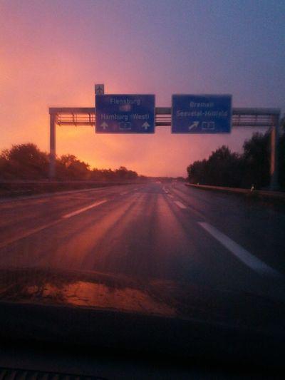 On The Road to Hamburg Autobahn Sunset