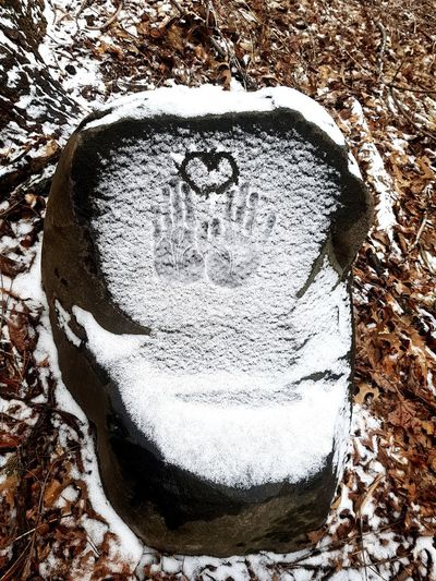Hand Prints Heart Shape Snow Covered Rock Love High Angle View Close-up
