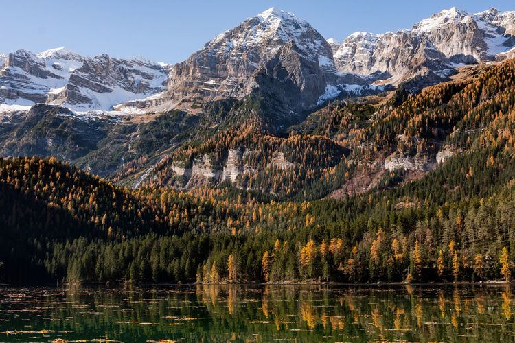 So many landscape... so little time. Brenta Dolomities from Tovel Lake in an incredible autumn morning Mountain Water Mountain Range Dolomites, Italy Dolomites Outdoors Lake Mountain Peak Cold Temperature Snow Autumn Foliage Colors Orange Color Winter Tree Nature Sky Tranquility No People Scenics - Nature Beauty In Nature