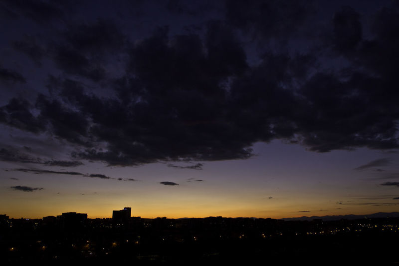 Architecture City City Lights Cityscape Clouds And Sky Dusk Madrid Night No People Outdoors Silhouette Sky Sky And Clouds Skyline Skyscraper Sunset