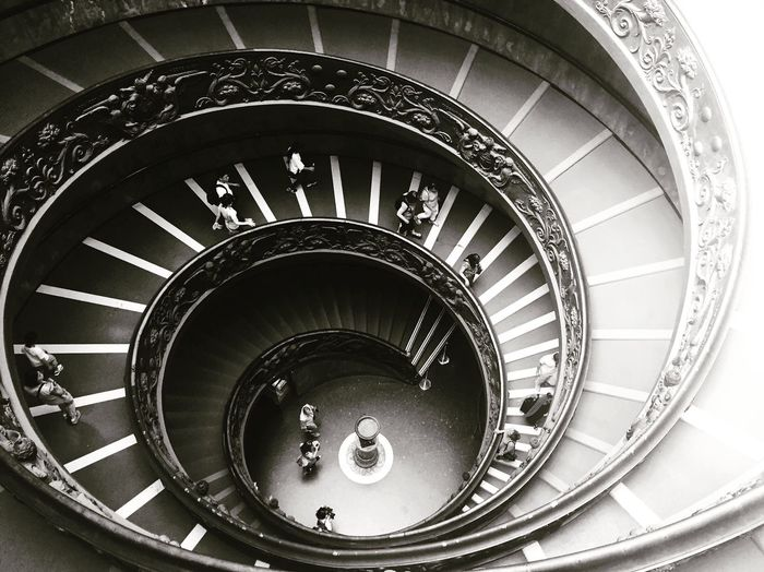 Railing Steps Steps And Staircases Staircase Spiral Staircase Indoors  High Angle View Built Structure Architecture Repetition No People Rome Vatican Vatican Museum Black & White B&w Photography Black And White B & W  Black And White Photography IPhone Photography Iphone 6 Spiral Staircases Spiral Vatican Museum Spiral Staircase