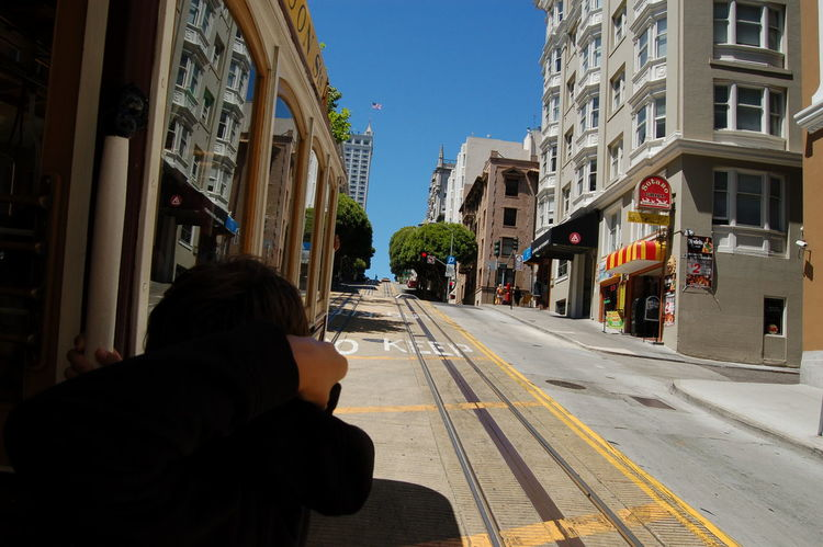 USA San Francisco Frisco Nofilter Summer Outdoor Blue Sky Road Street Streetphotography Cable Car Uphill City Life City Centre Sunny Railway Architecture Building