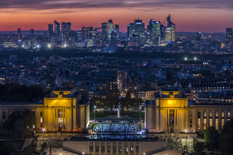 Aerial view of la defense and trocadero  in paris at sunset