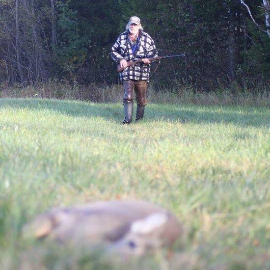 My father on his way up to a Fawn Roedeer that he shot this morning! Oldshool Veteranhunter Oneshotonekill Hunterforlife Oviken Jamtland LikeFatherLikeSon