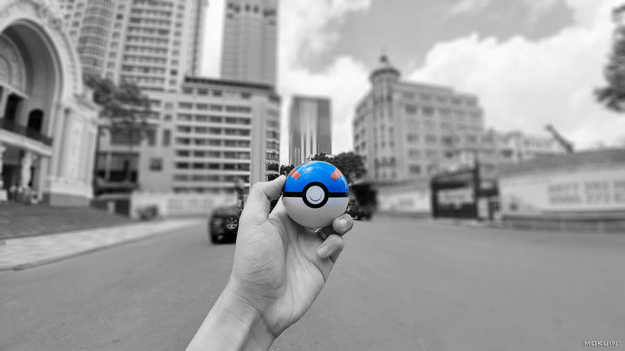 Pokeball Blue City Close-up Colorsplash Effects & Filters Focus On Foreground Hobby Hobbyphotography Memories Outdoors Pokeball Pokémon Sky Wide Cam