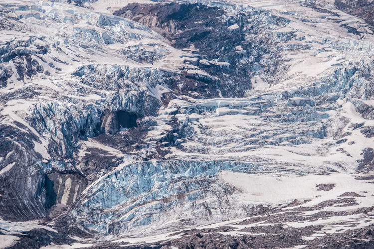 High angle view of snowcapped mountain
