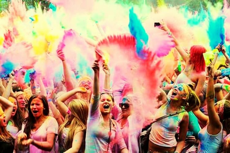 Colors Are Life Multi Colored Holi Celebration Traditional Festival Fun Happiness Throwing  Joy Cheerful Adult Cultures People Toothy Smile Powder Paint Face Powder Arms Raised Vitality Party - Social Event Smiling Enjoyment First Eyeem Photo