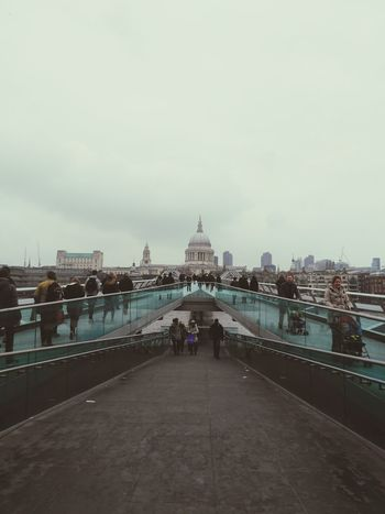 Fine Art Photography London London_only Bridge People Crowded Saint Paul's Cathedral