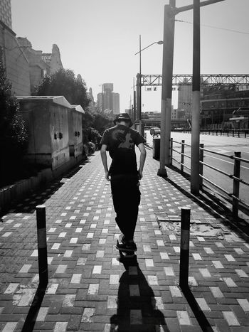 Skateboarding with Alon Ceng. Enjoying Life EyeEm Shanghai Skatelife Blackandwhite Blackandwhite Photography Urban Lifestyle Light And Shadow Capture The Moment