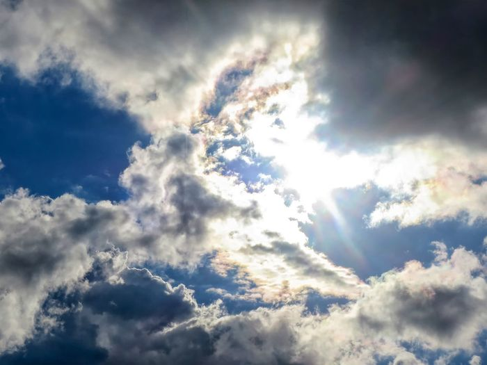 Backgrounds Beauty In Nature Blue Bright Cloud - Sky Cloudscape Day Dramatic Sky Full Frame Idyllic Low Angle View Meteorology Nature No People Outdoors Scenics - Nature Sky Softness Sunlight Tranquil Scene Tranquility White Color