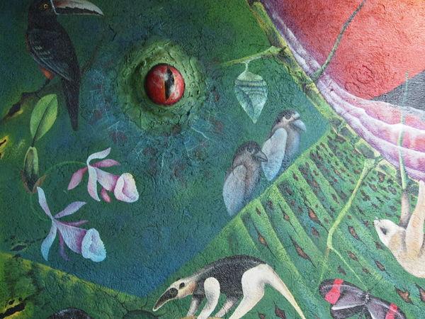 EyeEmNewHere Painted Travel Adventure Animal Themes Green Color Lizard Eye Mural Mural Art