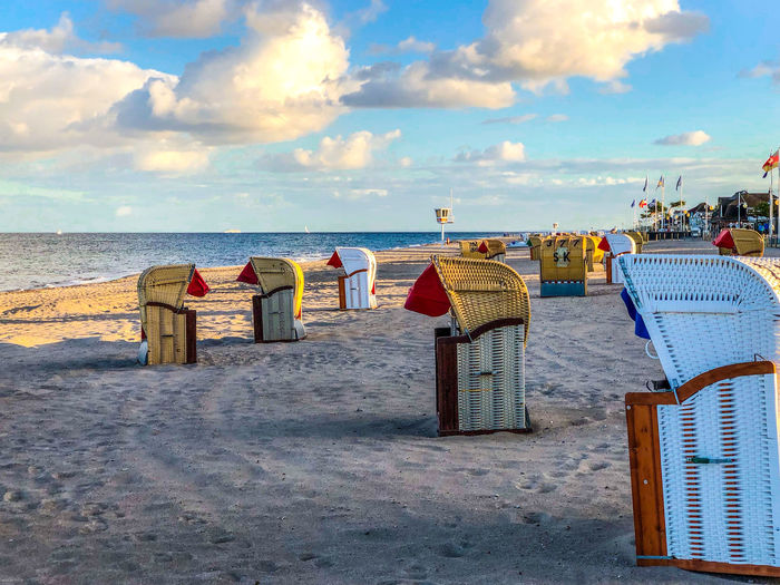 End-of-season scene at Dahme Beach, Baltic Sea, Germany Beach Sea Land Water Sky Horizon Horizon Over Water Cloud - Sky Sand Beauty In Nature Scenics - Nature Chair Nature Hooded Beach Chair Seat Tranquility Tranquil Scene Day Outdoors