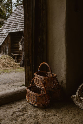 Abandoned basket in old building