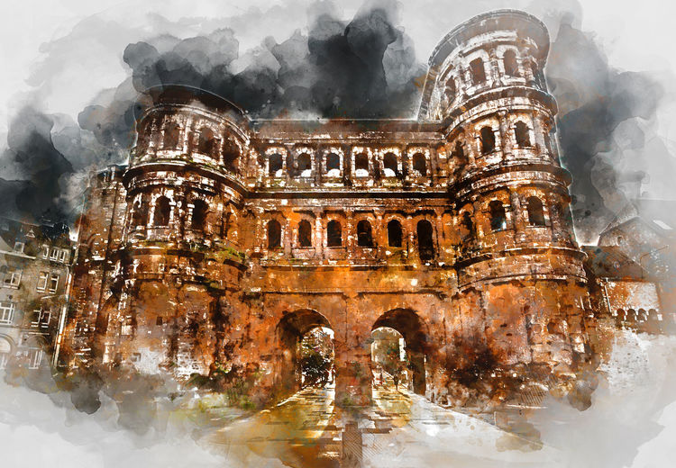Digital watercolor painting of The Porta Nigra (Black Gate) in Trier city, Germany. It is a famous large Roman city gate. Front view. UNESCO World Heritage Site Gates Historical Building Trier Trier, Germany's Oldest City UNESCO World Heritage Site Watercolour Architecture Building Built Structure Columns Digital Art Digital Illustration Digitally Altered Digitally Generated Digitally Generated Image Germany Illustration No People Outdoors Porta Nigra Porta Nigra Trier Travel Destinations Watercolor Watercolor Painting Watercolour Painting