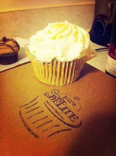 The lemoniest, creamiest, most delicious gluten free cupcake ever. Nom.