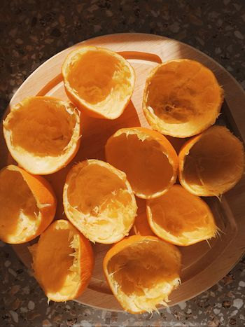 Half sliced squeezed oranges for a healthy juice in the morning. Seen from above. Citrus Fruit Delicious Drink Drinking Drinks Fresh Freshness Fruit Group Health Juice Liquid Natural Orange Orange - Fruit Orange Color Oranges Refreshment Round SLICE Slices Squeeze Texture Tropical Climate Vegetarian