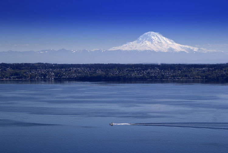 Beauty In Nature Blue Clear Sky Cold Temperature Lake Landscape Mode Of Transport Mountain Mountain Range Nature Puget Sound, Washington Scenics Sky Snow Snowcapped Mountain Tranquil Scene Tranquility Transportation Vashon Island Water Waterfront Winter
