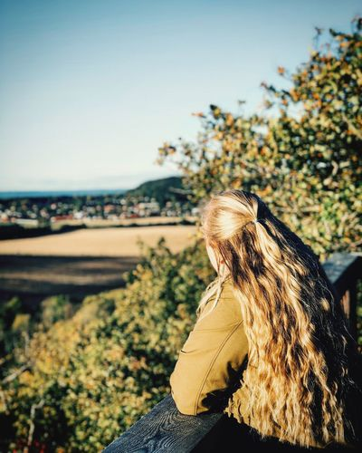 Myself Blond Hair View Focus On Foreground One Person Outdoors Real People Land Sunlight Women Long Hair Hair Nature Sky Young Women Day Sunlight Hairstyle