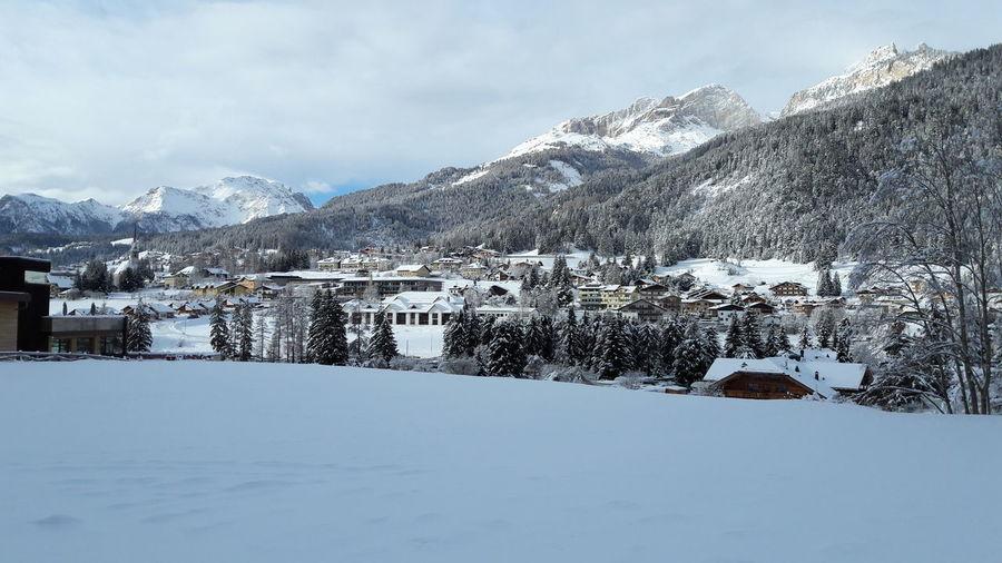 Dolomites Tree Mountain Snow Cold Temperature Winter Polar Climate Snowcapped Mountain Tourist Resort Frozen Snowflake