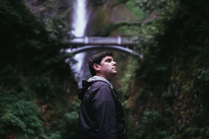 Raf Adventure Casual Clothing Cool Tones Focus On Foreground Idyllic Leisure Activity Lifestyles Multnomah Falls  Nature Nature Oregon Outdoors People PNW Portrait Selective Focus Tourism People And Places Travel Destinations Travgel Waterfall Original Experiences Adventure Club