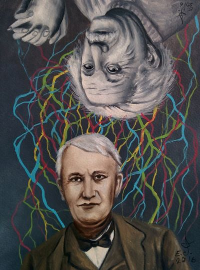 """Albert Einstein and Thomas Edison ,hi folks here are the two super geniuses ,two super brains and two of the most brightest humans who I think we all owe them almost everything we have and we use our daily basis so I personally thank you both ,but I'm sorry folks Donald Trump is not and will never be anywhere near this two super super smart minds let alone be the president of this grate country,i think my plumber friend knows more politics than Trump who has no respect for woman's and anybody else but himself.Acrylic on acrylic paper 14""""_22"""". Portrait Super Brains Beautiful People Genios Super Smart Brain Power Inventors Inventions Bright Minds Art, Drawing, Creativity Fine Art Oil Painting Drawing Creativity My Art Colllection Freedom Friendship. ♡   Love ♥ Koi."""