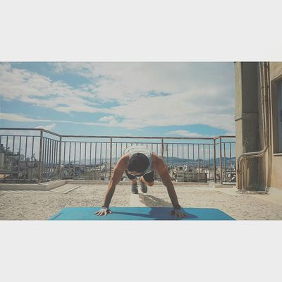 Street workout in roof. Workout Training Streetworkout Rooftop Sky Athens Greece Motivation Strength That's Me Street