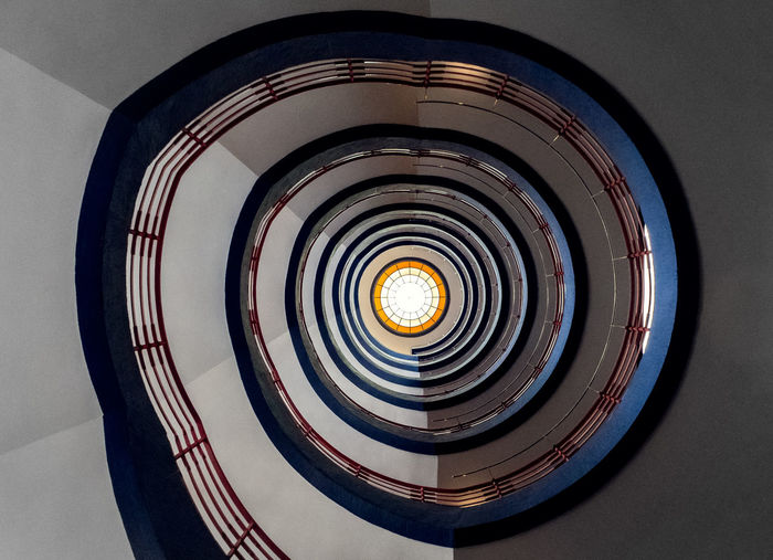 """The spiral Staircase in Hamburg, Germany in the """"Sprinkenhof"""" Building. Spiral Staircase Spiral Stairs Spiral Stairway Architecture Built Structure Circle Close-up Day Indoors  No People Spiral Spiral Staircase Stairs Spiral Staircases Staircase Steps And Staircases"""