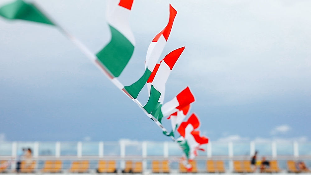 Country Cruise Ship Crusing Holiday Italia Italy At Sea Italy Flag Relaxing Travel Close-up Cruise Cruise Holiday Day Deck Europe Flag Flags In The Wind  Flying Italian Italy No People Patriotism Sea Days Sky Sunbathing