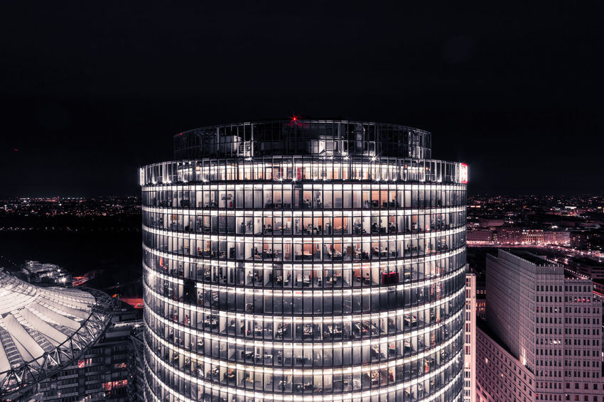 Deutsche Bahn Tower The Architect - 2018 EyeEm Awards Architecture Building Building Exterior Built Structure Business City Cityscape Copy Space Illuminated Modern Nature Night No People Office Building Exterior Outdoors Sky Skyscraper Stack Stadium Tall - High