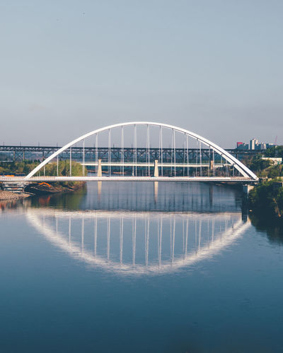Arch Arch Bridge Architecture Bridge Bridge - Man Made Structure Building Exterior Built Structure City Clear Sky Connection Day Modern Nature No People Outdoors Reflection River Sky Transportation Walterdale Bridge Water Waterfront